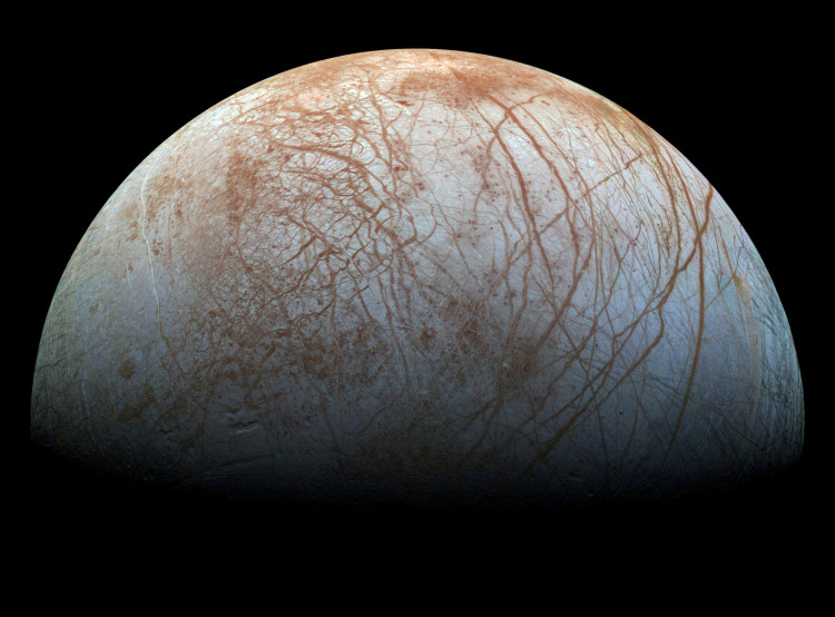 Handout photo of a view of Jupiter's moon Europa, created from images taken by NASA's Galileo spacecraft in the late 1990's