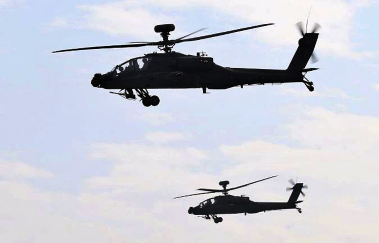 AH-64E Apache attack helicopters