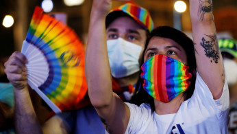 People take part in a Gay Pride event