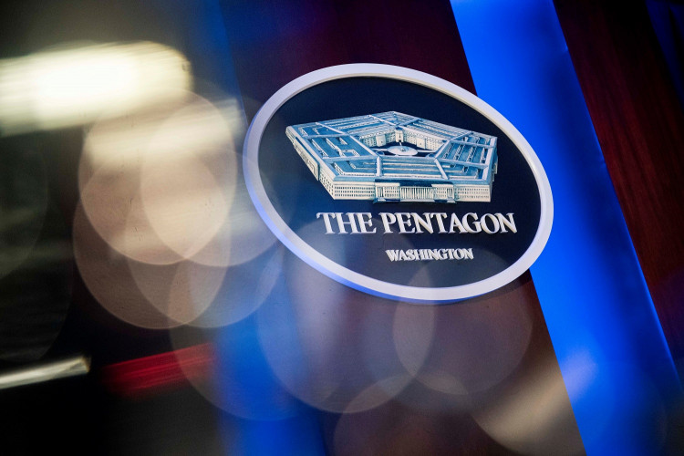 The Pentagon logo is seen behind the podium in the briefing room at the Pentagon in Arlington, Virginia