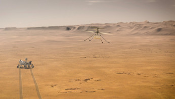 Ingenuity Mars Helicopter attempts its first test flight on Mars near NASA's Perseverance Mars rover