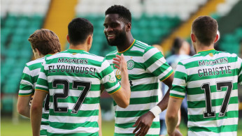 Celtic's Odsonne Edouard celebrates scoring their third goal with teammates