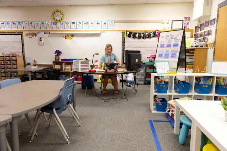Alexa Callander virtually teaches a second grade class for students who are either at home or in a separate classroom