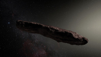 Artist's impression of ʻOumuamua, the first known interstellar object to pass through the Solar System.