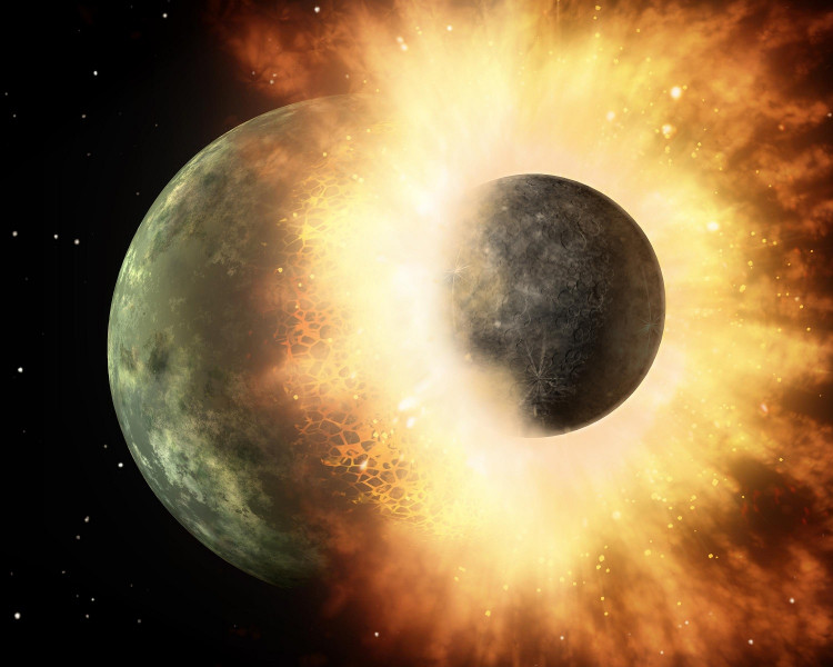 Artist's concept shows a celestial body about the size of our moon slamming at great speed into a body the size of Mercury