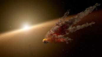 Artist impression of asteroid collision