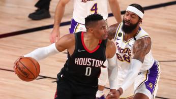 NBA: Houston Rockets guard Russell Westbrook (0) dribbles the ball against Los Angeles Lakers forward Markieff Morris (88)