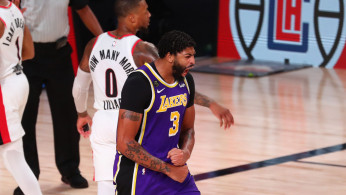 NBA: Los Angeles Lakers forward Anthony Davis (3) reacts after dunking against the Portland Trail Blazers