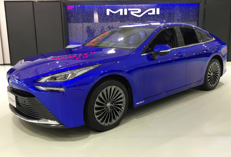 Toyota Motor Corp's revamped Mirai hydrogen fuel cell car is displayed at its launching event in Tokyo, Japan, December 9, 2020