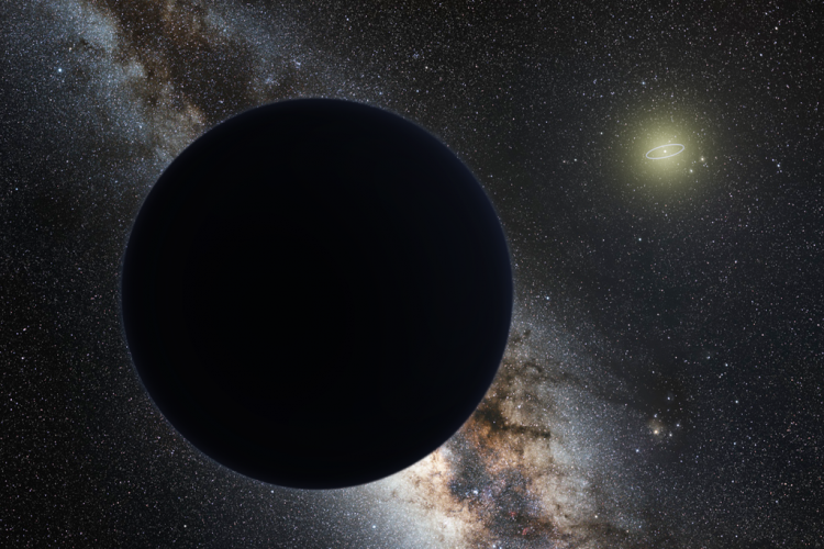 Planet Nine depicted as a dark sphere distant from the Sun with the Milky Way in the background.