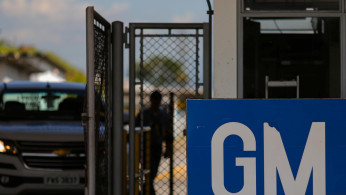 FILE PHOTO: The GM logo is seen at the General Motors plant in Sao Jose dos Campos, Brazil, January 22, 2019