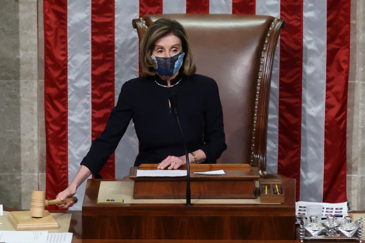 U.S. House Speaker Nancy Pelosi (D-CA) presides over the vote to impeach President Donald Trump for a second time