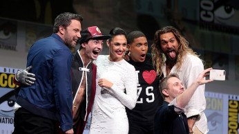Ben Affleck, Ezra Miller, Gal Gadot, Ray Fisher, and Jason Momoa of 'Justice League'