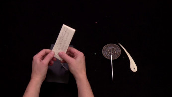 screencap: Letterlocking: Mary Queen of Scots' last letter, a spiral lock, England (1587)