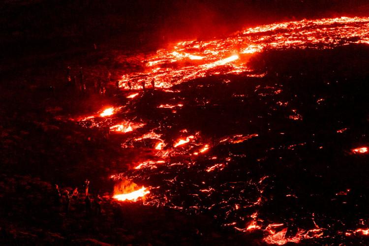 Volcanic eruption in Geldingadalur in Reykjanes peninsula in Iceland
