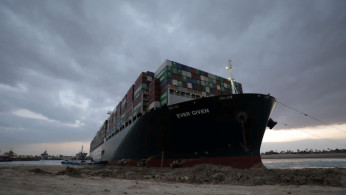 Stranded ship Ever Given, one of the world's largest container ships, is seen after it ran aground, in the Suez Canal.