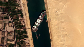 Ever Given container ship is seen in Suez Canal in this satellite image taken by Satellogic?s NewSat-16 on March 25, 2021.