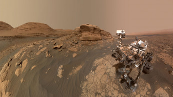 NASA's Curiosity Mars rover used two different cameras to create this selfie in front of Mont Mercou