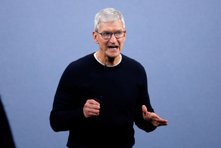 FILE PHOTO: CEO Tim Cook speaks at an Apple event at the company's headquarters in Cupertino, California, U.S. September 10, 2019.