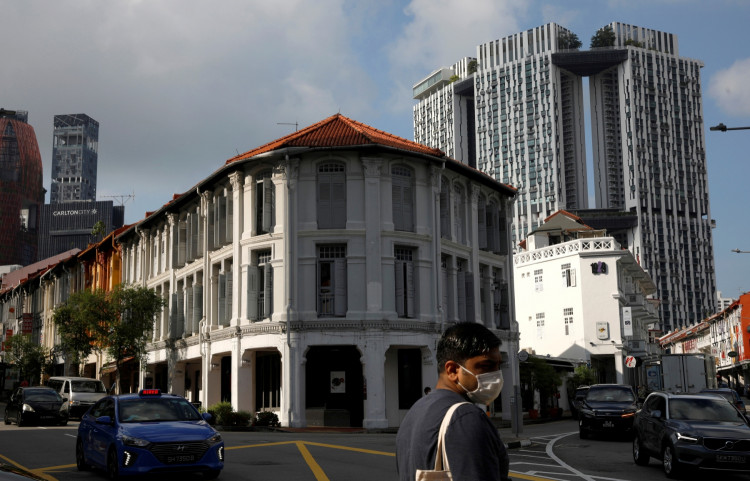 A view of shophouses in Singapore.