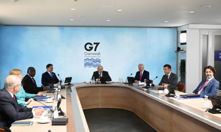 G7 leaders attend a working session during G7 summit in Carbis Bay, Cornwall, Britain, June 12, 2021.