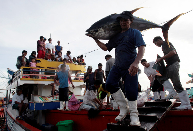 Fishermen and their families watch as a worker carries a yellow fin tuna off a fishing boat at fish at a port in General Santos City, Mindanao, southern Philippines January 10, 2008.