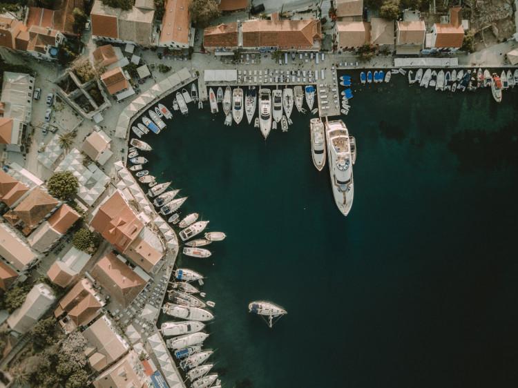 Bird's eye of a port in Greece