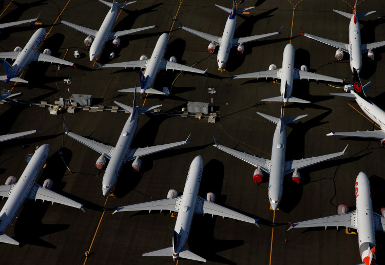 FILE PHOTO: Grounded Boeing 737 MAX aircraft are seen parked in an aerial photo at Boeing Field in Seattle, Washington, U.S. July 1, 2019.