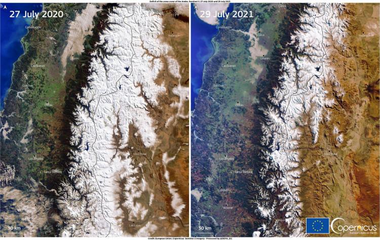 Andes satellite image comparison