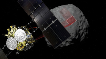 A computer graphic handout image shows Japan Aerospace Exploration Agency's Hayabusa 2 probe arrives to asteroid Ryugu in outer space.