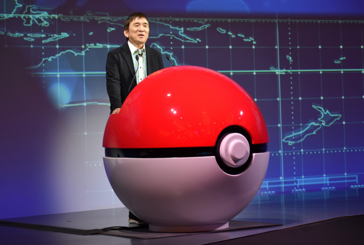 Tsunekazu Ishihara, chief executive of the Pokemon Company, speaks at a news conference in Tokyo