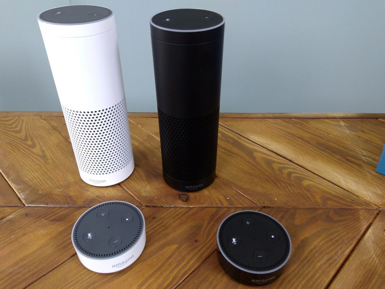 The Amazon Echo, a voice-controlled virtual assistant, is seen at its product launch for Britain and Germany in London, Britain