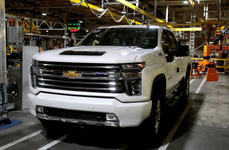 A Chevrolet 2020 heavy-duty pickup truck is seen at the General Motors Flint Assembly Plant in Flint