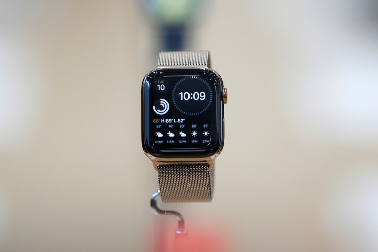 An Apple Watch Series 5 is seen on display in the demonstration area during a launch event at their headquarters in Cupertino